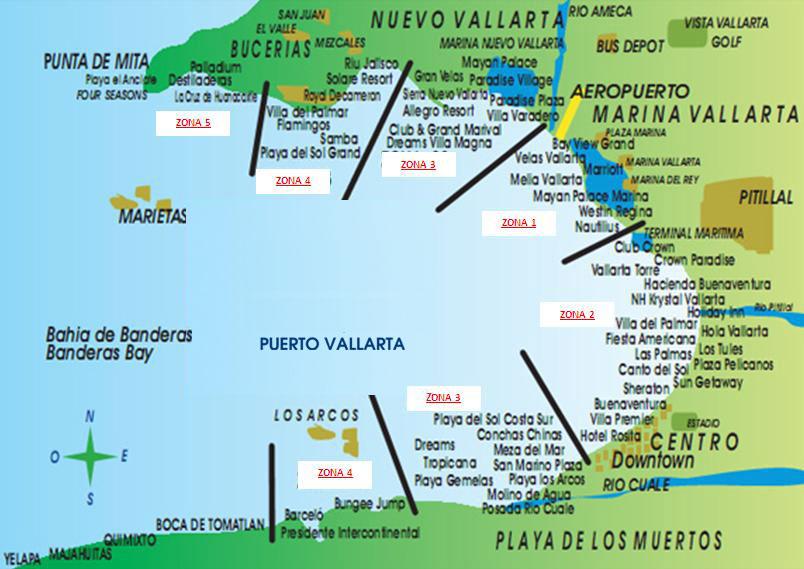 mapa de zonas de puerto vallarta